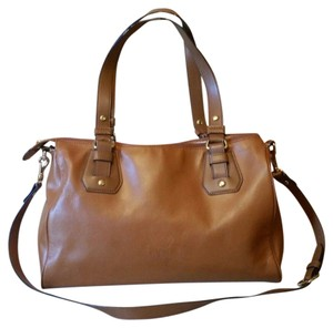 Lauren Ralph Lauren Large Convertible Shoulder Brown Leather Tote ... fd465ae79bc70