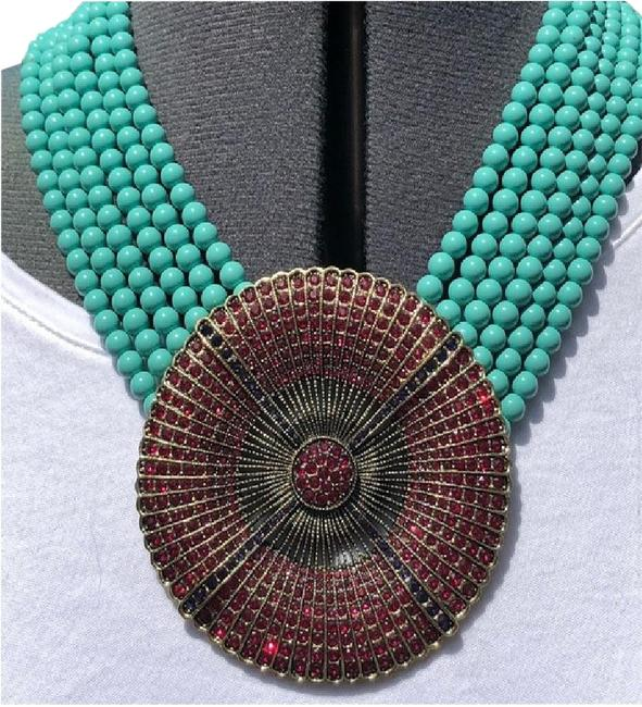 Item - Turquoise Beads with Ruby Crystals Belgium Disc Turq/Ruby 6 Strand Swarovski Elements Necklace