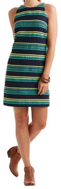 Preload https://img-static.tradesy.com/item/23532628/vineyard-vines-blue-green-stripe-jacquard-shift-short-casual-dress-size-12-l-0-1-650-650.jpg