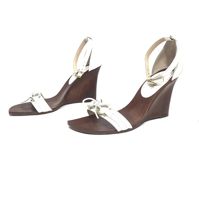 Item - White & Brown W Leather W/ Gold Rings and Leather Bow Wedges Size US 6 Regular (M, B)