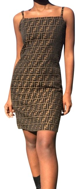 Item - Brown Vintage Logo Mint Condition Mid-length Short Casual Dress Size 2 (XS)