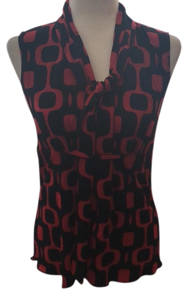 529ed037cc59c Cocomo Red and Black Print Professional Sleeveless Tie Neck Blouse ...