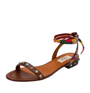 Valentino Made In Italy Luxury Designer Rockstud Embroidered Stud Trim Brown Sandals