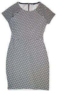 A|X Armani Exchange short dress Black White Cap Sleeves Stretch Geometric Cut-out Mini on Tradesy