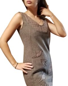 Knitted Dove short dress Brown, beige on Tradesy