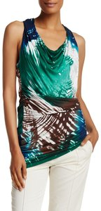 Halston Cowl Neck Heritage Ruched Colored Asymmetrical Top Multi