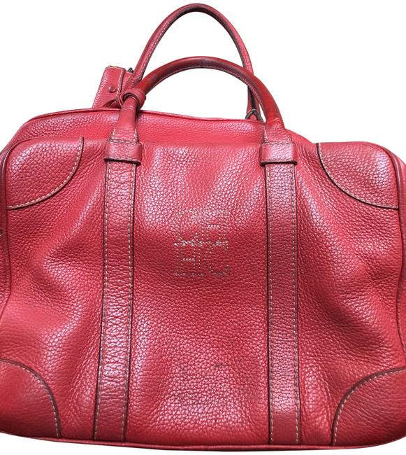 Item - Rectangular Red Leather Satchel