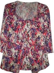 Just My Size 1/2 Sleeve Knotted Front Top Multi-Color