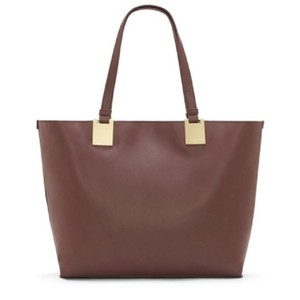 Vince Camuto Leather Snap Magnetic Tote in BLACK CHERRY
