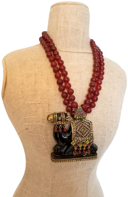Item - Antique Gold Camel-ot Crystal and Enamel Statement and Pendant. Necklace