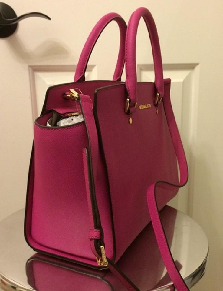 7a9402465829 Michael Kors Mercer Tote Satchel in Fuchsia Fuschia Hot Pink Image 7.  12345678