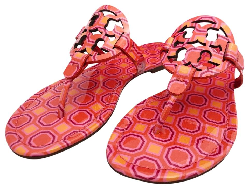 64f884feb0060 Tory Burch Miller Flip Flop Vivid Orange Sqaure Coral Pink Sandals. Size   US 7 ...