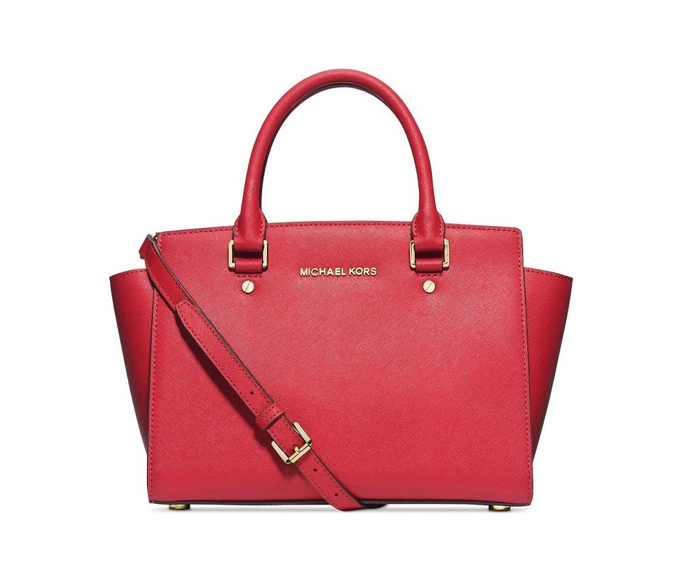 58a29d8fe940 Michael Kors Shoulder Bag Selma Medium Saffiano Tote Crossbody Watermelon  Dark Pink Leather Satchel
