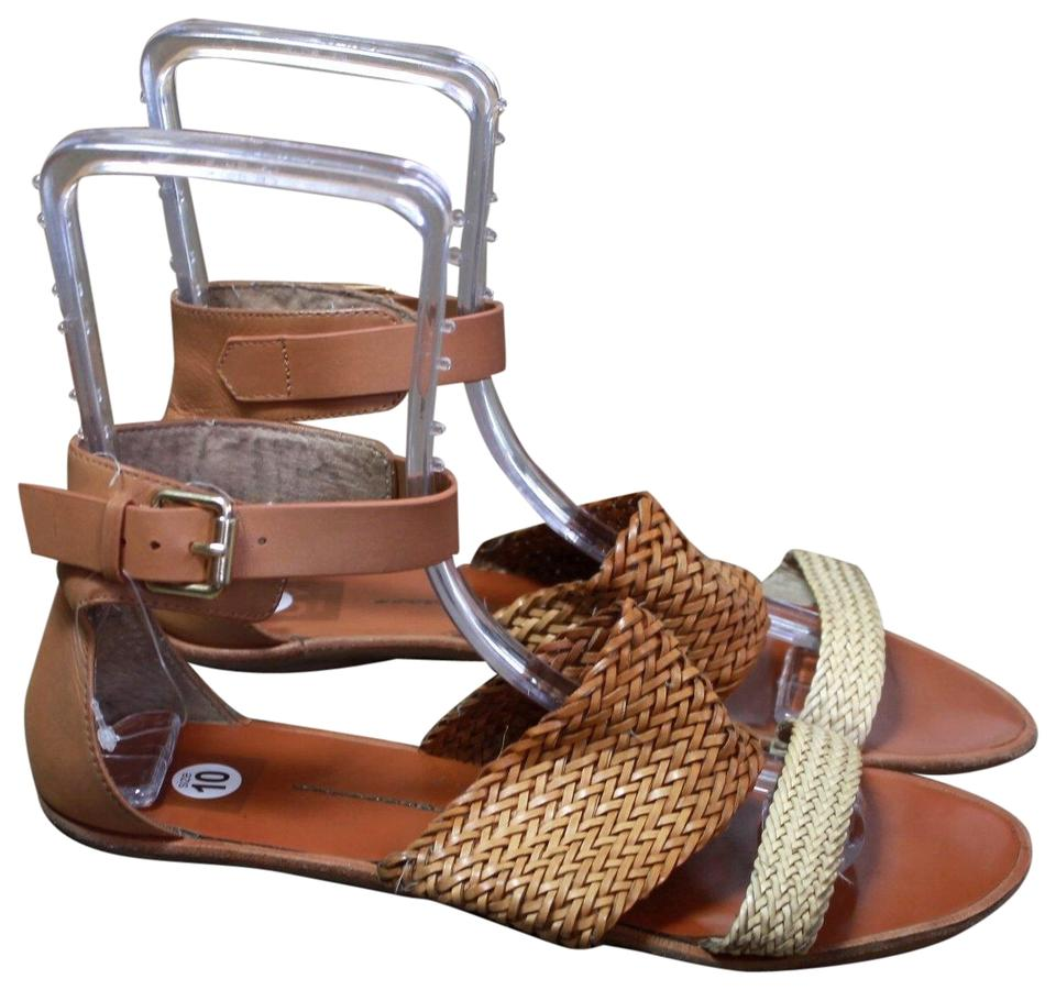 e1f579488 DV by Dolce Vita Brown Woven Leather Ankle Strap Sandals Size US 10 ...