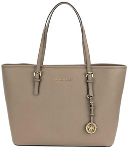 39fb4ace76d7 Michael Kors Jet Set Travel Saffiano Leather Top Zip Tote in Dark Taupe