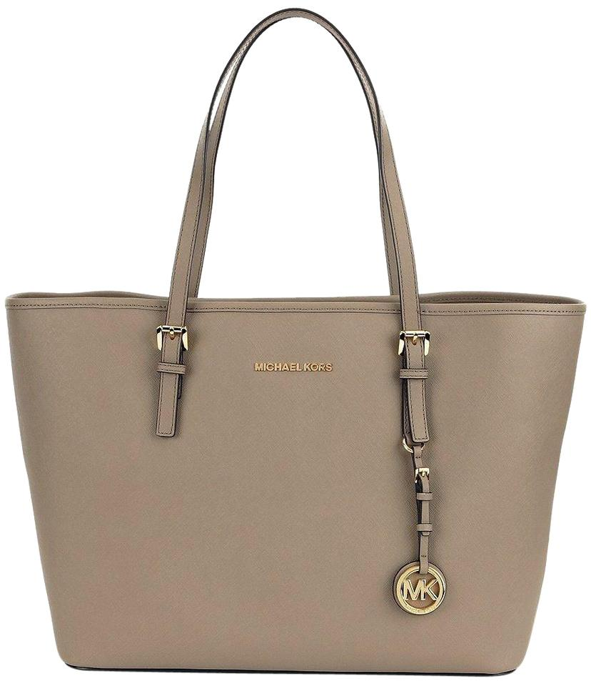 cc0f06186ce633 Michael Kors Jet Set Travel Saffiano Leather Top Zip Tote in Dark Taupe  Image 0 ...