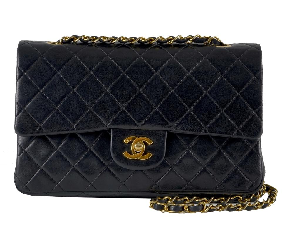 bc5776ef6a598 Chanel Classic Flap Medium Black Lambskin Leather Shoulder Bag - Tradesy