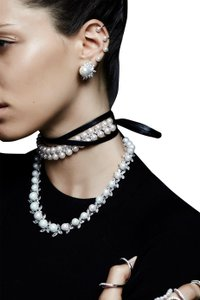 Fallon Monarch Faux Pearl & Leather Wrap Choker