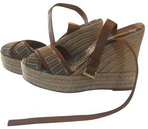 Tory Burch brown yellow beige gray white Sandals