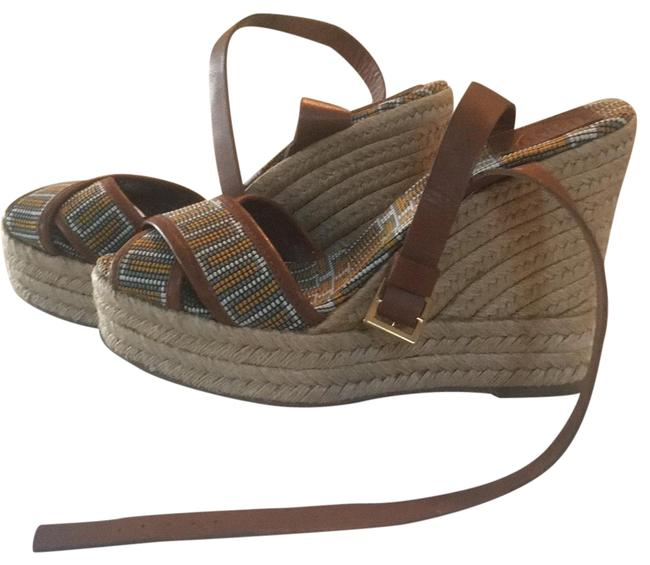 Item - Brown Yellow Beige Gray White Florian Criss Cross Espadrille Wedge Sandals Size US 9 Regular (M, B)