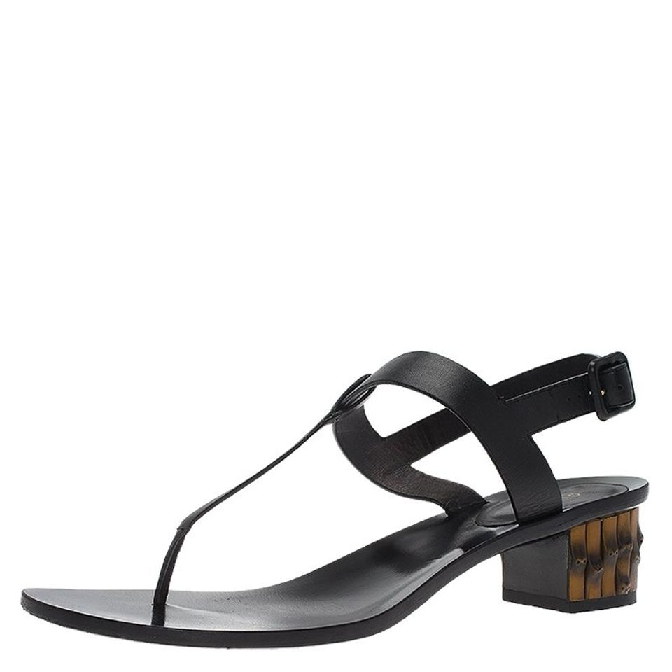 f8ce4bbd38d Gucci Black Leather Dahlia Bamboo Heel Sandals Size EU 40 (Approx ...