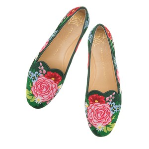 Charlotte Olympia Sale Rare Pink Green Flats