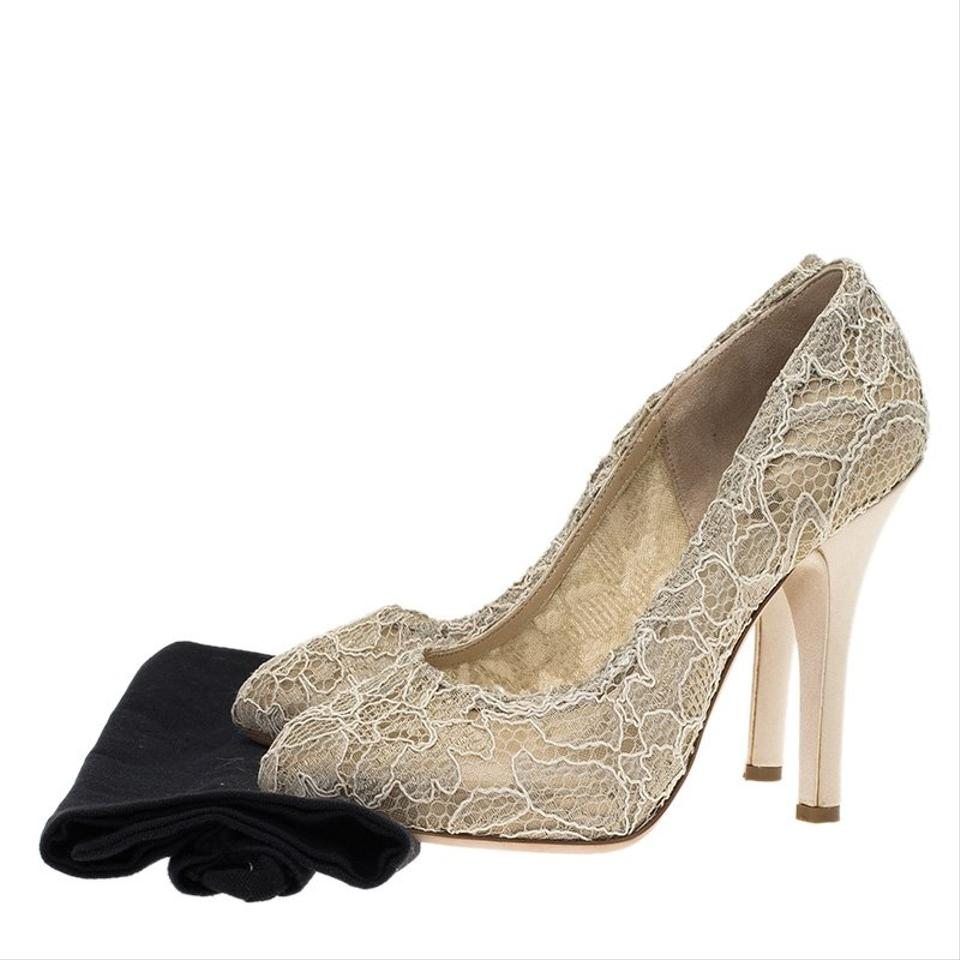 355306fe696 Dolce Gabbana Beige Cream Sheer Lace and Satin Platform Pumps Size ...