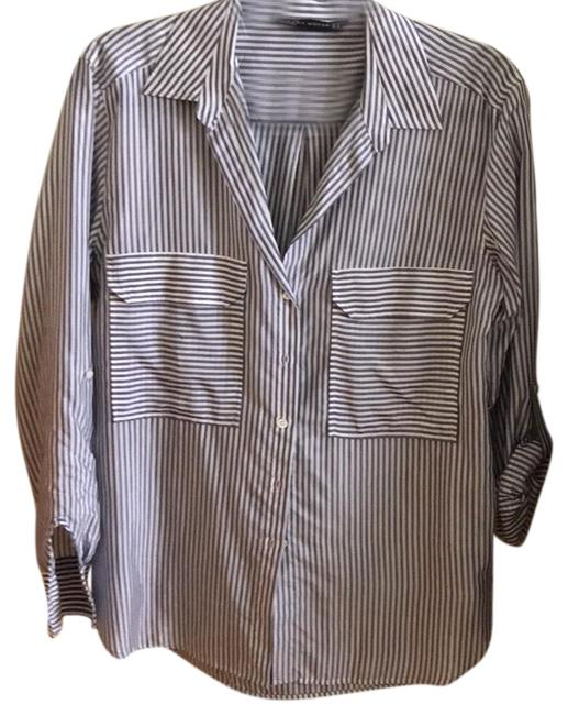 Item - Striped Blue and White Button-down Top Size 8 (M)