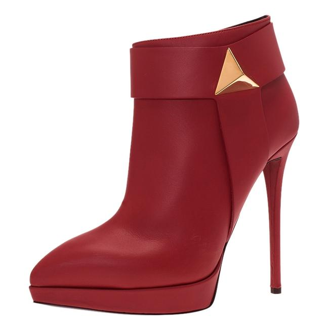 Item - Red Leather Pyramid Stud Platform Ankle Boots/Booties Size EU 40 (Approx. US 10) Regular (M, B)