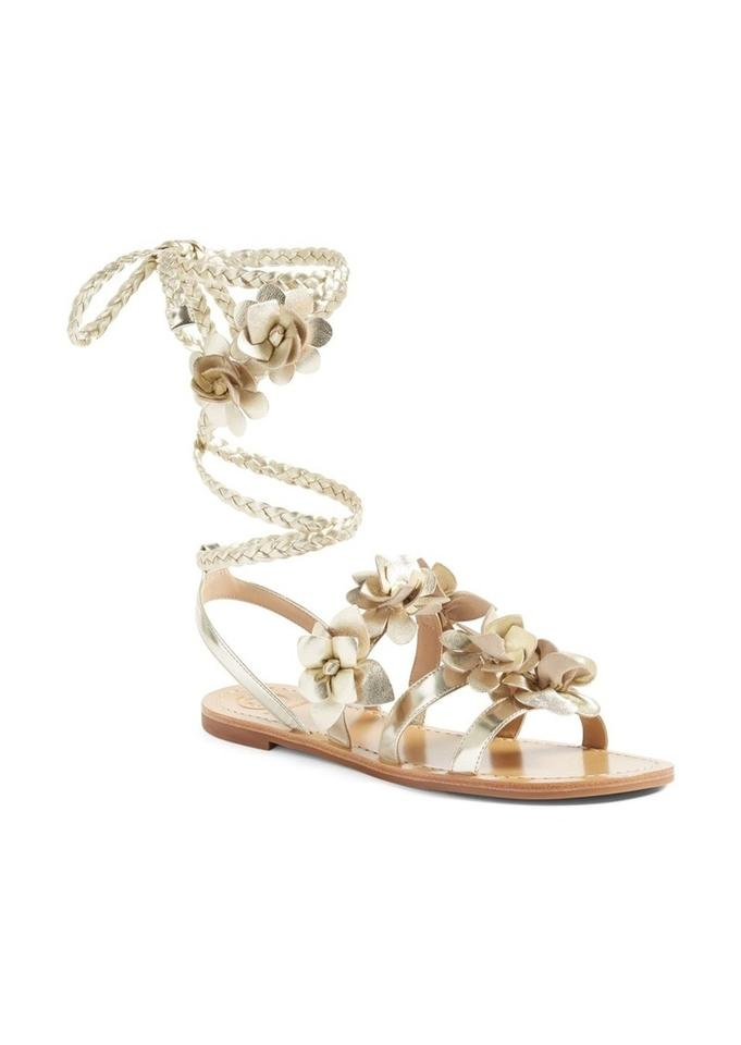 9b25cbd9ecc3 Tory Burch Gold Spark Blossom Gladiator Sandals Size US 6 Regular (M ...