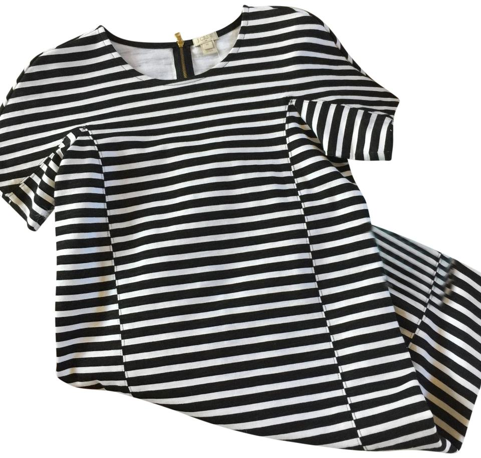3f6ff688e4 J.Crew Black and White Striped Tee Short Casual Dress Size 2 (XS ...