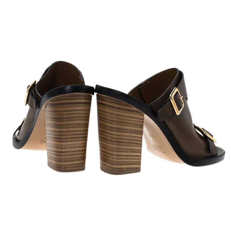 8da8afc1a2 Chloé Brown Leather Buckle Detail Block Heel Mule Sandals Size EU 39.5  (Approx. US 9.5) Regular (M, B) - Tradesy