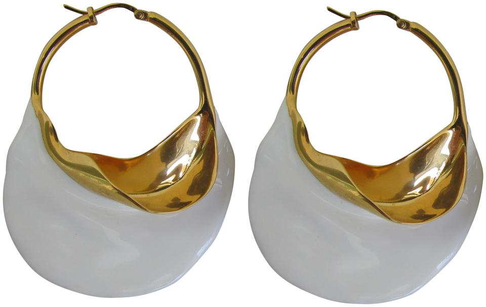Céline White Enamel Golden Br Swirl Hoops Earrings