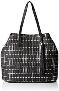 Vince Camuto Metallic Faux Leather Woven Tote in black