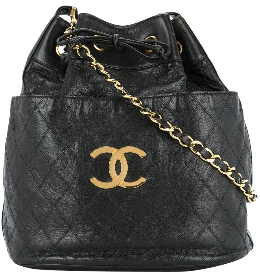Chanel Drawstring Large Bucket Rare Vintage Quilted Black Leather ... 43d72ba986