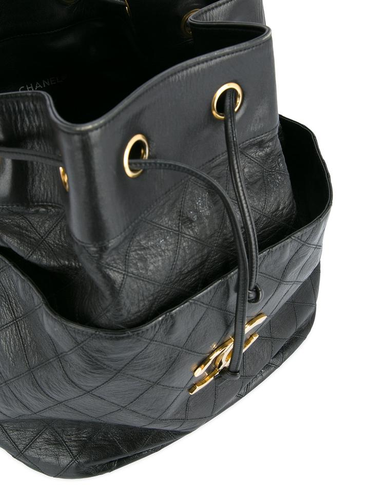 aadceb742680 Chanel Drawstring Large Bucket Rare Vintage Quilted Black Leather ...