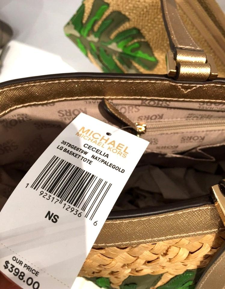 a3a7fe34d4ce Michael Kors Straw Large Brown Leather Tote in natural pale gold Image 10.  1234567891011