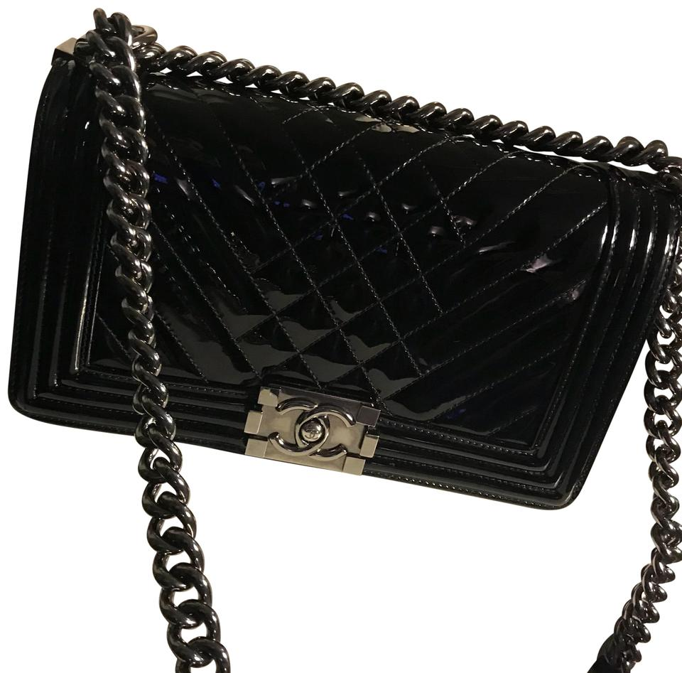 9c45c47519e7cd Chanel Boy Chevron Medium Le Black Patent Leather Shoulder Bag - Tradesy