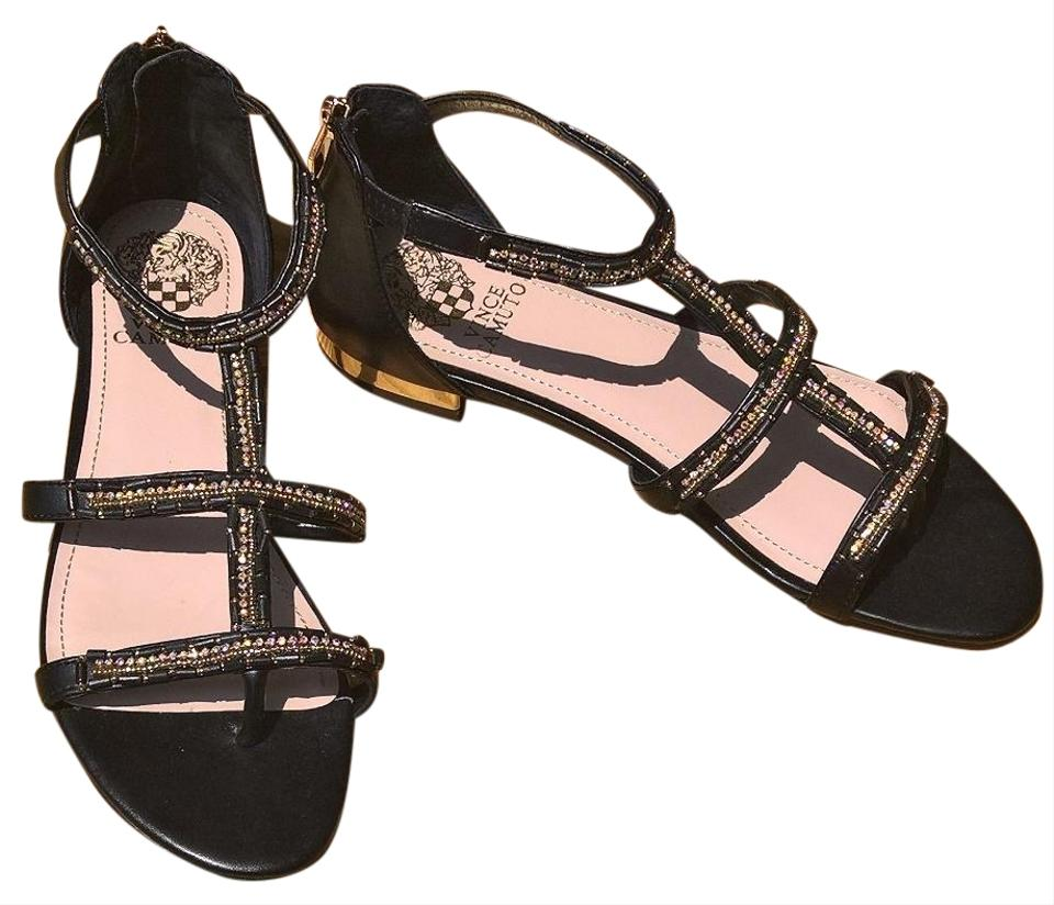 0d127fbdc08033 Vince Camuto Black Gladiator Rhinestone Sandals Size US 8 Regular (M ...