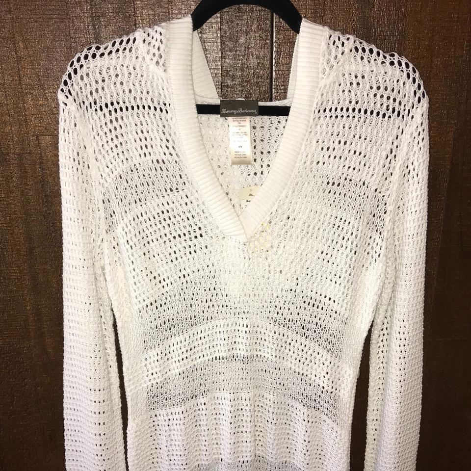 c54423ee7d Tommy Bahama White Hooded Linen Blend Beach Sweater Cover-up/Sarong ...