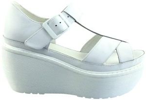 Dr. Martens Leather Sandals Buckle White Wedges