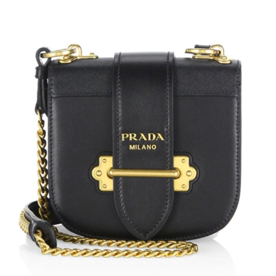 f3624c2b905b Prada Cahier Saddle Black Leather Cross Body Bag - Tradesy