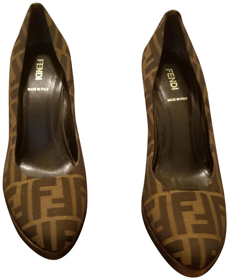 MISS Fendi Elegant Brown Zucca Print Pumps Elegant Fendi and stable packaging a0e96c