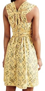 Anthropologie short dress Yellow Fit + Flare Ruched Waist Gathered Upper Back Lace Contrast Blue Lining on Tradesy