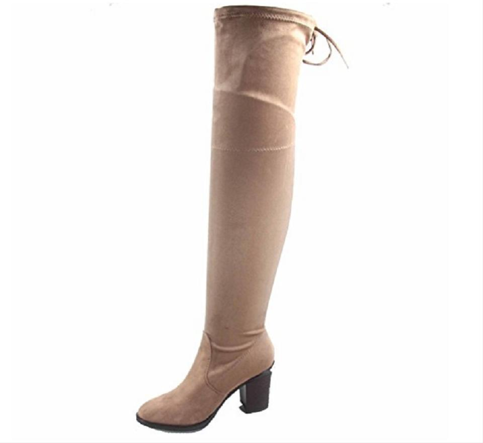 Brown Sexy Pull Up Knee Almond Toe Over The Knee Up Mid Boots/Booties 379336