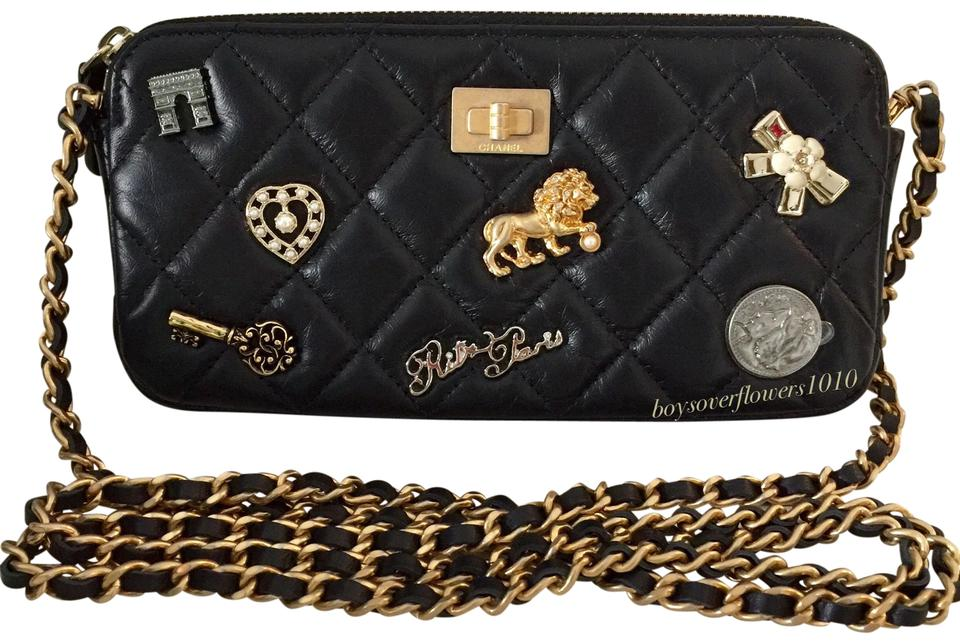 071f510cab84bb Chanel Clutch With Chain 17a Lucky Charms Black Aged Calfskin Cross ...