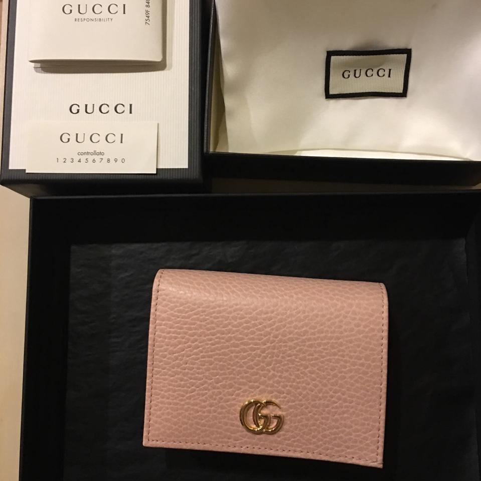 bcd4007320a0 Gucci NEW Gucci Marmont Calfskin Texture Leather Card Case Bifold Wallet  Image 5. 123456
