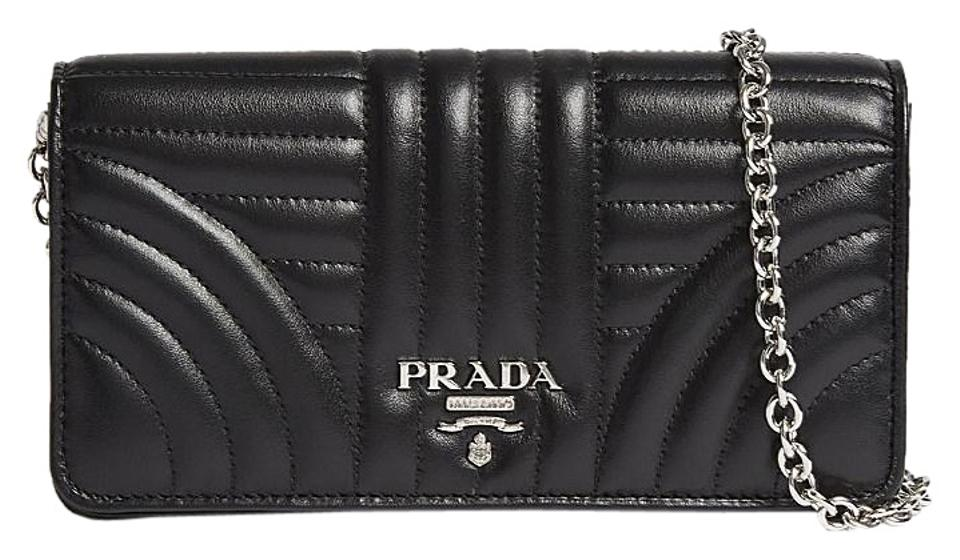 fa44adbd243706 Prada Black Logo Wallet Leather Chain Bag | Stanford Center for ...