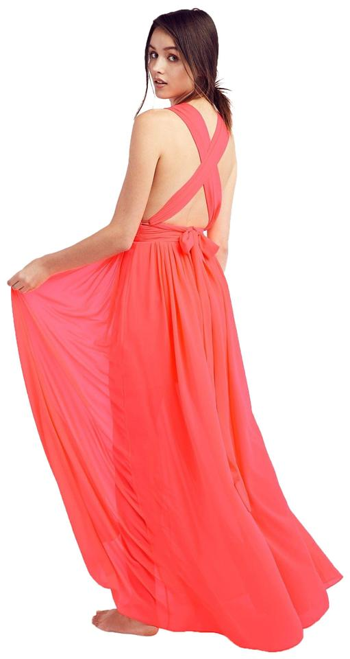 e0af6527a11 Free People Neon Pink-orange (Nwot) Fp X Bariano Maxi Draped Athea Formal  Dress