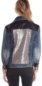 Amuse Society Sequin Distressed Vegan Leather Washed Blue Denim Womens Jean Jacket